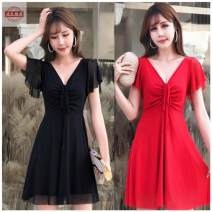 Dress Winter 2020 Red, blue, rose, white, black, yellow, pink S,M,L,XL,2XL,3XL Short skirt singleton  Short sleeve Flounce, open back, gauze net