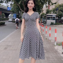 Dress Summer 2020 Light grey S/2 M/3 L/4 XL/5 longuette singleton  Short sleeve commute V-neck High waist Dot Socket Pleated skirt routine Others 30-34 years old Type A Manetti Korean version printing 5500248-1S04321-001 More than 95% other Viscose (viscose) 100% Pure e-commerce (online only)
