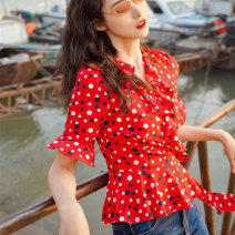 shirt gules S/2 M/3 L/4 XL/5 Summer 2021 polyester fiber 96% and above Short sleeve commute Regular V-neck Socket puff sleeve Dot 30-34 years old Self cultivation Manetti lady 1300682-1S16235-001 Polyester 95.5% polyurethane elastic fiber (spandex) 4.5% Pure e-commerce (online only) Chiffon