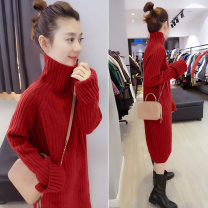 Dress Winter of 2019 Red earthy yellow light purple dark brown pink purple black yellow blue S M L Mid length dress other Long sleeves street High collar High waist Solid color Socket other other Others 30-34 years old Concubine B172f2773p0140 91% (inclusive) - 95% (inclusive) other acrylic fibres