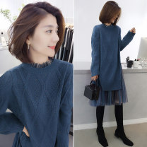 Dress Spring 2020 Black grey blue S M L Mid length dress singleton  Long sleeves street Crew neck Loose waist Solid color Socket routine Others 30-34 years old Concubine BA201v00048p0124 81% (inclusive) - 90% (inclusive) polyester fiber Polyester 85% polyamide 15% Pure e-commerce (online only)