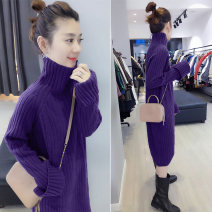 Dress Winter of 2019 Purple blue earthy yellow light purple dark brown S M L Mid length dress singleton  Long sleeves street High collar Loose waist Solid color Socket other other Others 30-34 years old Concubine B172f2773p0180 91% (inclusive) - 95% (inclusive) other acrylic fibres Europe and America