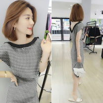 Dress Summer 2020 black S M L XL Mid length dress singleton  Short sleeve street Crew neck High waist stripe Socket routine Others 30-34 years old Concubine B192y05075p0130 81% (inclusive) - 90% (inclusive) polyester fiber Polyester 85% polyamide 15% Pure e-commerce (online only) Europe and America