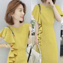 Dress Summer of 2019 Yellow green pink S M L XL Mid length dress Short sleeve street Crew neck High waist 30-34 years old Concubine B192y05273p0150 81% (inclusive) - 90% (inclusive) polyester fiber Polyester 85% polyurethane elastic fiber (spandex) 15% Pure e-commerce (online only) Europe and America