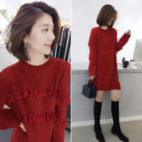 Dress Spring 2020 gules S M L Mid length dress singleton  Long sleeves street Crew neck Loose waist Solid color Socket routine Others 30-34 years old Concubine B194y11361p0140 81% (inclusive) - 90% (inclusive) polyester fiber Polyester 85% polyamide 15% Pure e-commerce (online only)