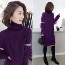 sweater Spring 2020 S M L Purple black blue Long sleeves Socket singleton  Regular polyester fiber 81% (inclusive) - 90% (inclusive) High collar Regular street routine Solid color 30-34 years old Concubine B194y10635p01803 Polyester 85% polyamide 15%