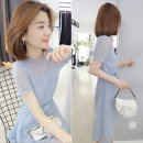 Dress Summer 2020 blue S M L Mid length dress singleton  Short sleeve street Crew neck High waist lattice Socket other other Others 30-34 years old Concubine More than 95% polyester fiber Polyester 100% Pure e-commerce (online only) Europe and America