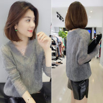 Wool knitwear Autumn of 2019 S M L Red white pink grey Long sleeves singleton  Socket Lycra Lycra 30% and below have cash less than that is registered in the accounts Thin money street easy V-neck routine Solid color Socket B183k05445p1420 Concubine Pure e-commerce (online only) Europe and America