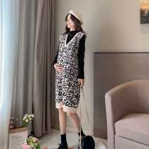 Dress Other / other Leopard Dress, Leopard Dress + base coat suit Average size Korean version Long sleeves Medium length winter V-neck Decor wool