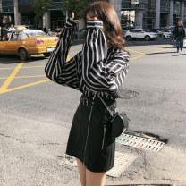 Fashion suit Autumn of 2019 S M L XL [suit] striped shirt + black leather skirt [single piece] black leather skirt [single piece] striped shirt 18-25 years old Boudoir orange Other 100% Pure e-commerce (online only)