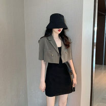 Dress Summer of 2019 Single black suspender dress single black coat single grey green coat black coat + suspender skirt grey green coat + suspender skirt S M L XL Short skirt Two piece set Short sleeve commute One word collar High waist Solid color Socket A-line skirt routine Others 18-24 years old