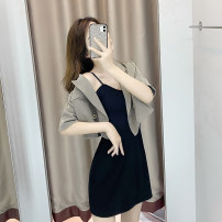 Dress Summer 2020 Grey green Blazer + suspender skirt black blazer + suspender skirt single black suspender skirt single grey green Blazer single black blazer S M L XL Short skirt Two piece set Short sleeve commute tailored collar High waist Solid color other other other camisole 18-24 years old