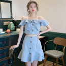 Dress Summer 2020 Sky blue black S M L XL Short skirt Two piece set Sleeveless commute One word collar High waist Solid color Socket A-line skirt other camisole 18-24 years old Type A Boudoir orange Korean version More than 95% other other Other 100% Pure e-commerce (online only)