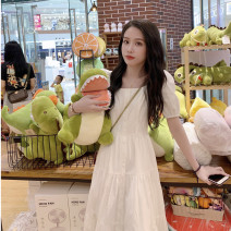 Nursing clothes White blue M L XL 2XL Gongshi Front buckle summer three quarter sleeve have more cash than can be accounted for Korean version Dress Solid color Side opening Hemp cotton