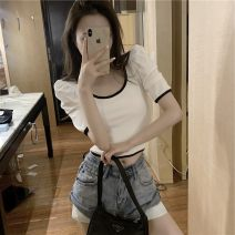 Lace / Chiffon Summer 2020 Black and white S M L Short sleeve commute Self cultivation Regular Solid color puff sleeve 18-24 years old Rouge power 96% and above Other 100% Pure e-commerce (online only)