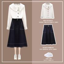 Fashion suit Autumn 2020 S M L XL White shirt blue skirt white shirt + blue skirt 18-25 years old Linyang T322-6105 Other 100% Pure e-commerce (online only)