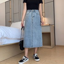 Women's large Summer 2020 Blue dark blue skirt singleton  commute easy moderate Solid color Korean version Denim polyester cotton Three dimensional cutting Xi Xixuan 18-24 years old Medium length Cotton 74.9% polyester 22.4% viscose 1.8% polyurethane elastic 0.9% Pure e-commerce (online only)