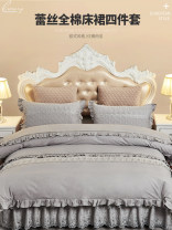 Bedding Set / four piece set / multi piece set cotton Quilting Solid color 133x72 Beautiful night cotton 4 pieces 40 Bed skirt Qualified products European style 95% (inclusive) - 100% (exclusive) cotton