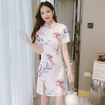 Dress Summer 2021 Picture color S,M,L,XL Middle-skirt singleton  Short sleeve commute stand collar middle-waisted Decor Socket A-line skirt routine Others Type A ethnic style Bowknot, stitching, beading, button, zipper, printing 81% (inclusive) - 90% (inclusive) Cellulose acetate
