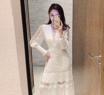 Dress Spring 2021 White, black, pink S,M,L longuette singleton  Long sleeves commute V-neck High waist Solid color zipper Ruffle Skirt bishop sleeve Others 25-29 years old Type O Splicing Lace polyester fiber