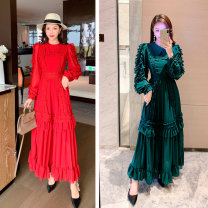 Dress Spring 2021 Red, dark green S,M,L longuette singleton  Long sleeves commute Crew neck High waist Solid color Socket A-line skirt routine Others 25-29 years old Type A lady Splicing 71% (inclusive) - 80% (inclusive) Chiffon polyester fiber