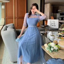 Dress Summer 2021 sky blue S,M,L longuette singleton  Sleeveless commute Crew neck High waist Solid color zipper A-line skirt pagoda sleeve Others Type A lady Pleating, stitching, mesh 71% (inclusive) - 80% (inclusive) Lace polyester fiber
