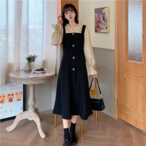 Women's large Winter 2020 Black apricot M (80-100), l (100-120), XL (120-140), 2XL (140-160), 3XL (160-180), 4XL (180-200) Dress singleton  commute easy moderate Socket Long sleeves Solid color Retro Crew neck polyester fiber puff sleeve Button 96% and above longuette