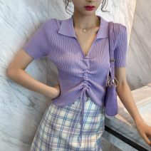 T-shirt Yellow black white taro purple orange pink purple S M L XL Summer 2020 Short sleeve Polo collar Self cultivation Regular routine commute other 96% and above 18-24 years old Korean version originality Solid color Slave sink 885713099-29176 Pleating Other 100% Pure e-commerce (online only)