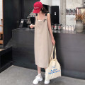 Dress Summer 2020 Black Khaki M L XL 2XL longuette singleton  Sleeveless commute One word collar Loose waist Solid color other A-line skirt routine camisole 18-24 years old Type A Slave sink Korean version 51% (inclusive) - 70% (inclusive) polyester fiber Pure e-commerce (online only)