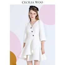 Dress Autumn 2020 white XS S M Short skirt singleton  three quarter sleeve Sweet V-neck Solid color Ruffle Skirt pagoda sleeve 25-29 years old Type A CECILIA WOO Asymmetric button with ruffle JAQ-D9 More than 95% polyester fiber Polyester 100% princess