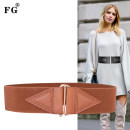 Belt / belt / chain top layer leather Brown red coffee black female Waistband Versatile Single loop Youth, middle age and old age a hook Glossy surface Glossy surface 5.8cm alloy Thick decorative elastic FG fgd068 Winter of 2019 no
