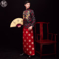 cheongsam Winter of 2019 S M L XL XXL Black dragon men's Long sleeves long cheongsam Retro wedding Straight front Decor 18-25 years old Embroidery SZ-1224 It's so simple other New polyester 90% other 10% Pure e-commerce (online only)