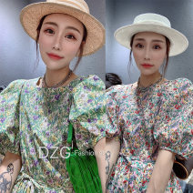 Dress Summer 2020 S M L Mid length dress singleton  Short sleeve street Crew neck High waist Broken flowers Socket A-line skirt routine Others 25-29 years old Type A Jiaopinqian 81% (inclusive) - 90% (inclusive) polyester fiber Polyester 90% other 10% Pure e-commerce (online only) Europe and America
