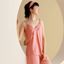 Pajamas / housewear set female L XL one size fits all Polyester (polyester) camisole sexy Leisure home Thin money V-neck shorts Socket youth 2 pieces rubber string printing Polyester 96% polyurethane elastic fiber (spandex) 4% Spring 2021 Pure e-commerce (online only) Middle-skirt