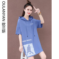 Sweater / sweater Summer 2021 Gray blue white orange black M L XL 2XL Short sleeve Medium length Socket singleton  Thin money Hood easy commute routine letter 25-29 years old 31% (inclusive) - 50% (inclusive) Ou Lanyan Korean version nylon Y28055-59OLY printing cotton Pure e-commerce (online only)