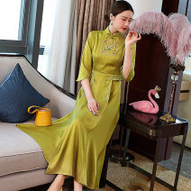 cheongsam Summer 2021 S M L XL XXL Lemon yellow white three quarter sleeve long cheongsam Retro Low slit Ruyi lapel Decor Embroidery jpl20516210 Daphne polyester fiber Other polyester 95% 5% Pure e-commerce (online only)