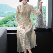 cheongsam Spring 2020 S M L XL XXL Apricot three quarter sleeve long cheongsam Retro Low slit daily Oblique lapel Decor Embroidery Daphne polyester fiber Other polyester 95% 5% Pure e-commerce (online only)