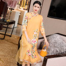 cheongsam Summer 2020 S M L XL XXL Yellow white three quarter sleeve long cheongsam Retro Low slit daily Oblique lapel Decor Embroidery Daphne polyester fiber Other polyester 95% 5% Pure e-commerce (online only)