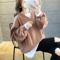 Women's large Autumn 2020 M (suitable for 90-120 kg) l (suitable for 120-140 kg) XL (suitable for 140-160 kg) XXL (suitable for 160-180 kg) Sweater / sweater Fake two pieces commute easy moderate Socket Long sleeves Solid color Korean version Crew neck Medium length cotton routine Huarouge thread