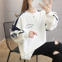 Women's large Spring 2021 Turquoise white black M (suitable for 90-120 kg) l (suitable for 120-140 kg) XL (suitable for 140-160 kg) XXL (suitable for 160-180 kg) Sweater / sweater singleton  commute easy thin Socket Long sleeves letter Korean version Crew neck routine polyester fiber routine Huarouge