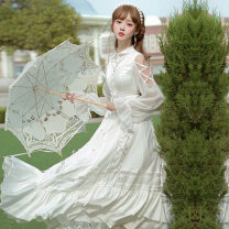 Dress Winter 2020 Full set (OP skirt + neckwear) S M L XL XXL XXXL longuette singleton  Long sleeves Sweet square neck middle-waisted Solid color other Princess Dress shirt sleeve Others 18-24 years old Type H Spring lovers S20J200012 More than 95% Chiffon polyester fiber Polyester 100% Lolita