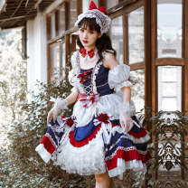 Dress Autumn 2020 Jsk skirt + Necklace + headdress + sleeve + veil S M L XL XXL XXXL Mid length dress other Sweet square neck middle-waisted Solid color Socket Princess Dress other camisole 18-24 years old Spring lovers S20J200007 More than 95% organza  polyester fiber Polyester 100% Countryside