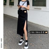 skirt Summer 2021 S M L XS Black light blue Mid length dress commute High waist Denim skirt Solid color Type A 18-24 years old More than 95% Small house woman shopping other Korean version Other 100%