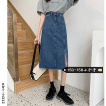 skirt Summer 2021 XS S M Dark blue denim blue Mid length dress commute High waist A-line skirt Solid color Type A 18-24 years old More than 95% Small house woman shopping other Korean version Other 100%