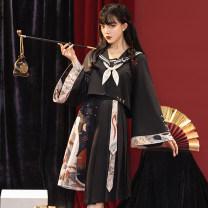 Hanfu 30% and below Summer 2021 Jacket + Navy collar asymmetric pleated skirt (jacket + Navy collar + asymmetric pleated skirt) XS S M L XL polyester fiber