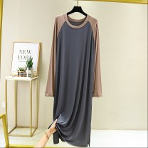 Dress Autumn 2020 Light gray, khaki, taro, iron gray The average size is 80-120 Jin, and the extra size is 120-160 Jin longuette singleton  Long sleeves commute Crew neck High waist Socket Big swing other Type A Other Korean version F0320 81% (inclusive) - 90% (inclusive) modal