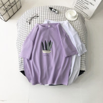 T-shirt White red blue green purple pink M L XL XXL Summer 2020 Short sleeve Crew neck easy Regular routine commute polyester fiber 86% (inclusive) -95% (inclusive) 18-24 years old Simplicity originality Plants and flowers Moyuan (costume) printing Pure e-commerce (online only)