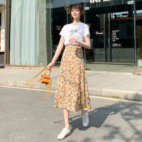 skirt Summer 2021 Average size Cat claw white T, vase white T, ice cream white T, No.1 color A-line skirt, No.2 color A-line skirt, No.3 color A-line skirt Mid length dress fresh High waist A-line skirt Broken flowers Type A 18-24 years old xdgC polyester fiber