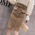 skirt Spring 2021 S,M,L,XL,2XL Blue, black, khaki Middle-skirt Versatile High waist skirt Solid color Type A 18-24 years old 51% (inclusive) - 70% (inclusive)