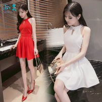 Dress Summer 2021 S,M,L,XL Short skirt singleton  Sleeveless commute Crew neck High waist Solid color zipper Big swing routine Hanging neck style 18-24 years old Type A Others Korean version 91% (inclusive) - 95% (inclusive) brocade cotton